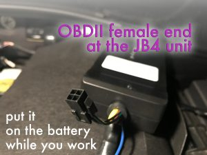 The JB4 unit and its female OBDII connector