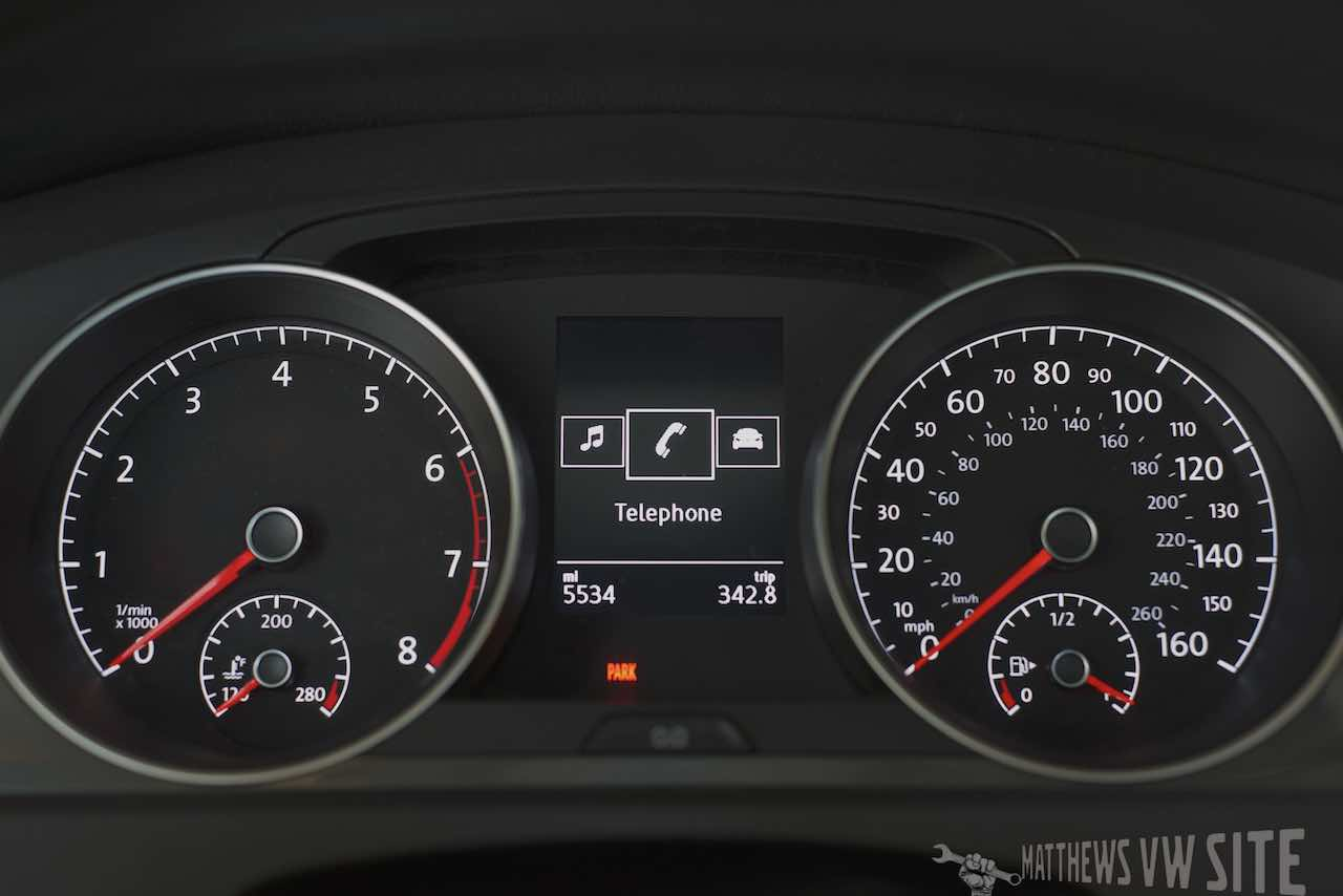 Telephone page in the VW Multifunction Display
