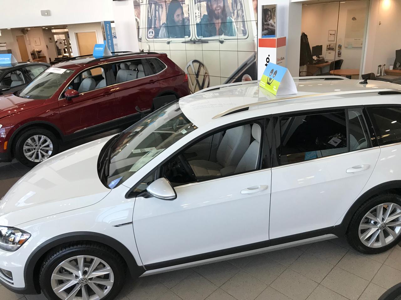 VW on the showroom floor of Emich VW in Denver