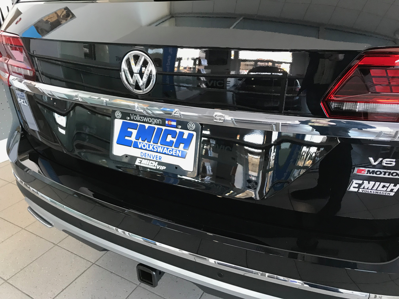VW on the showroom floor of Emich VW in Denver