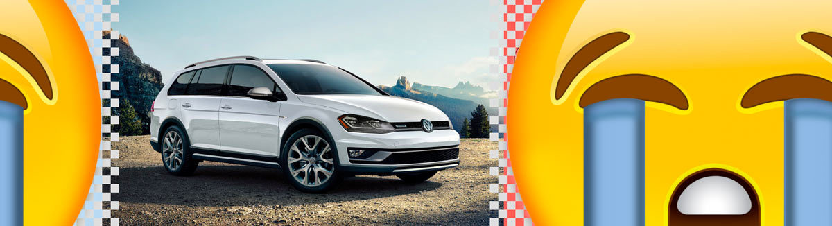 RIP Alltrack and SportWagen - white VW Alltrack with cry emojis