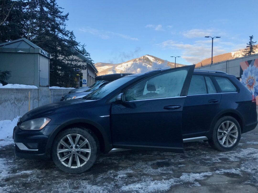 Blue VW Alltrack in Vail Colorado